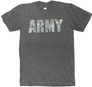 United States Army Camo Script Logo Men's Charcoal Gray Heather T-Shirt Medium