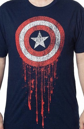 Marvel Captain America Battle-Worn Officially Licensed Navy T-Shirt Large