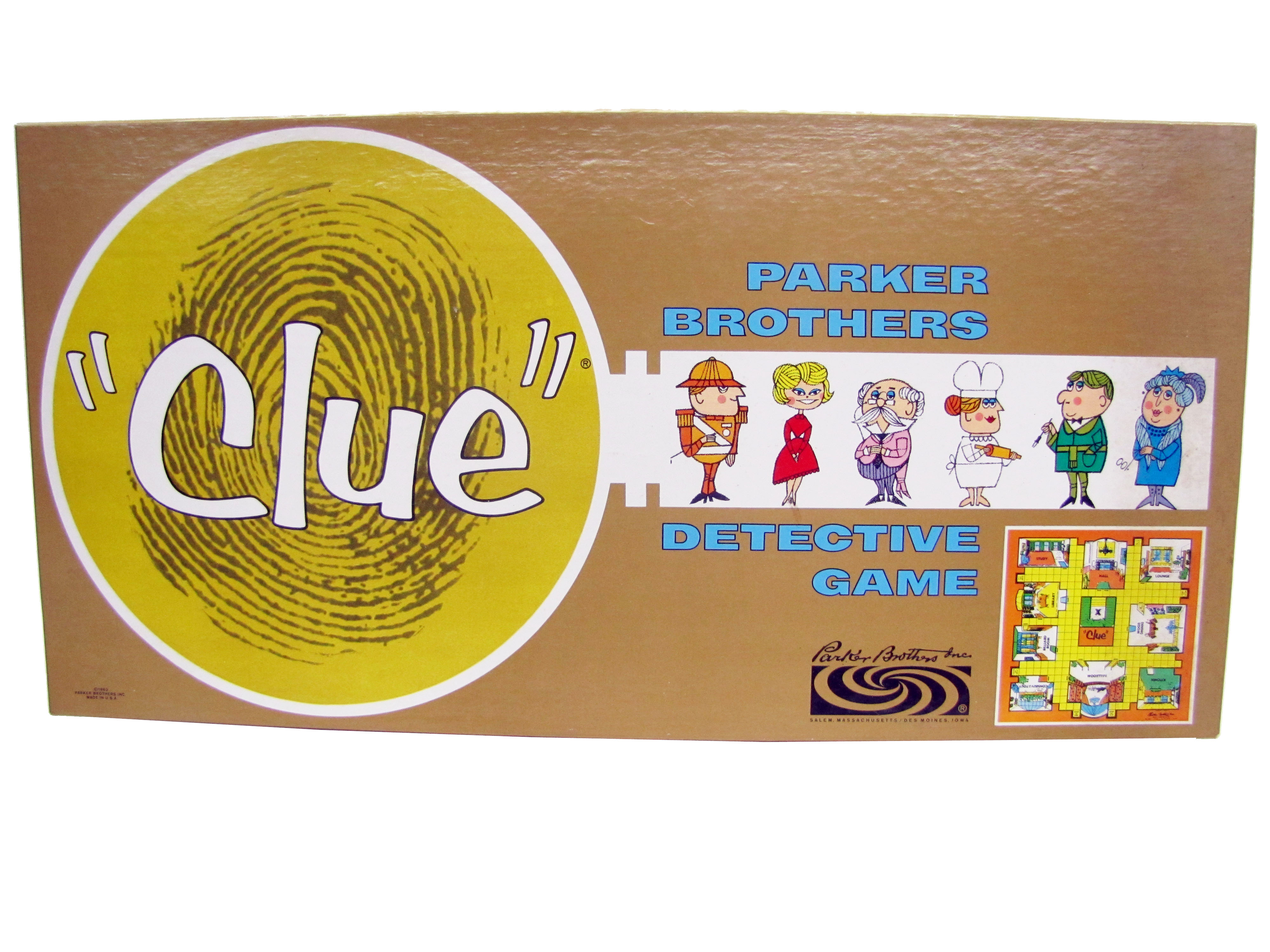 1960 Parker Brothers Clue Detective Game Board Game Complete